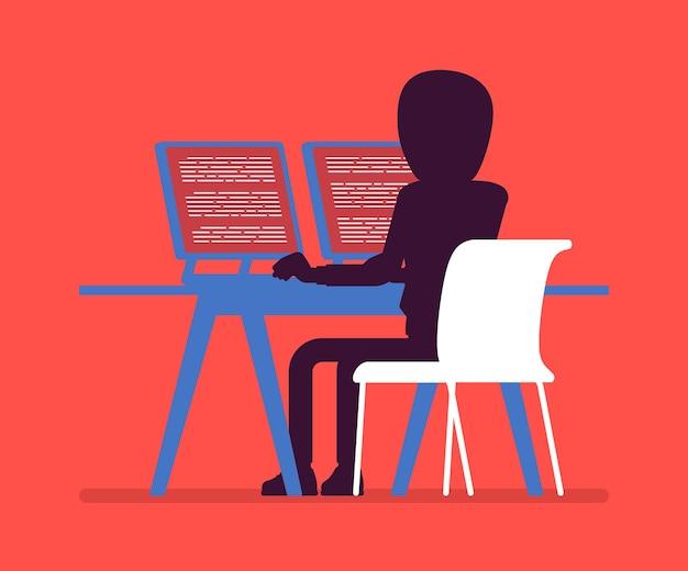 Anonymer mann mit verstecktem gesicht am computer
