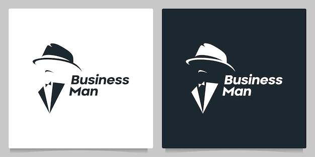 Anonymer menschen mann mit krawatte und hut logo design negativer raum