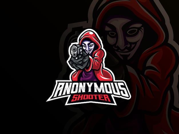 Anonymes maskottchen-sportlogo-design Premium Vektoren