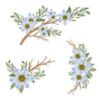 Anordnung aquarell der blauen blume mit zweig und blatt