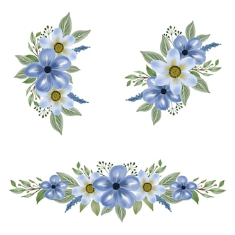 Anordnung der blauen aquarellblume für hochzeitseinladung