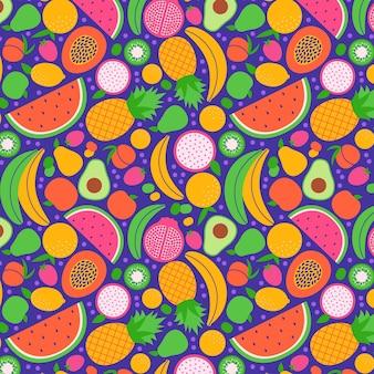Anordnung der nahtlosen sammlung exotischer früchte