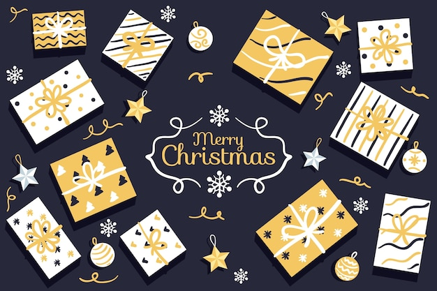 Anordnung für goldene geschenkboxen im packpapier