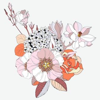 Anordnung mit frühlingsblumen in farben. blumenmagnolienhortensie rosenpfingstrosenmohn