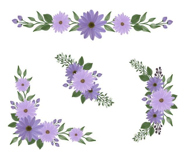 Anordnung von lila gänseblümchen-aquarell für gruß und hochzeitseinladung