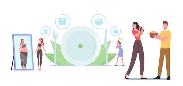 Anorexie oder bulimie, ungesundes lebensstilkonzept. weibliche charaktere mit psychischen störungen verweigern das essen, verlieren gewicht, fühlen sich schuldig und hassen den auftritt im spiegel. cartoon-menschen-vektor-illustration