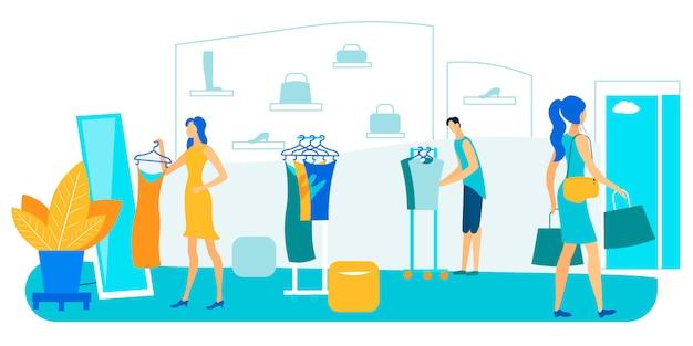 Anprobieren und kaufen von modischer freizeitkleidung