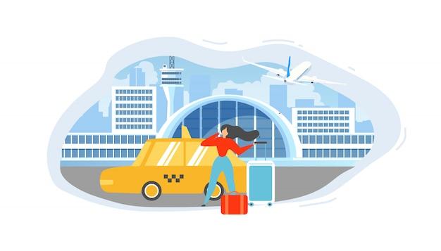 Anrufen des taxis vom flughafen-flachen vektor-konzept