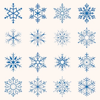Ansammlung blaue schneeflocken