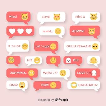 Ansammlung mitteilungen mit emojis