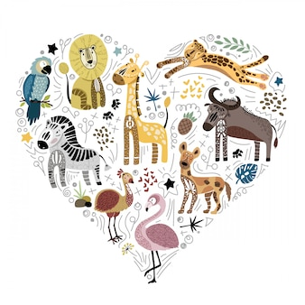 Ansammlung nette afrikanische tiere