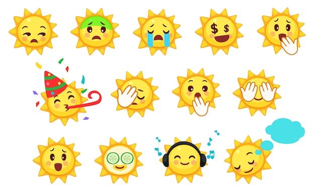 Ansammlung nette sonne emoticons