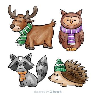 Ansammlung nette winter animales