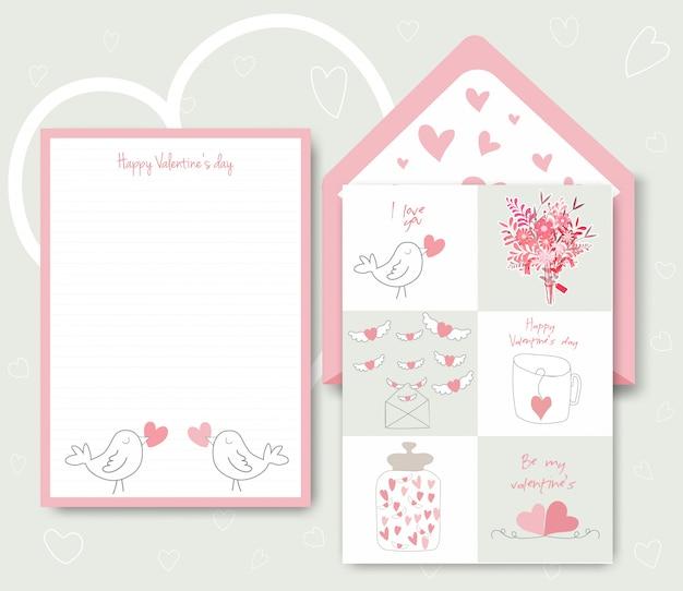Ansammlung rosafarbene weiße farbige valentinstagkarte.