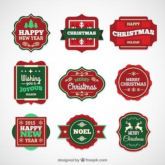 Ansammlung weihnachts retro abzeichen