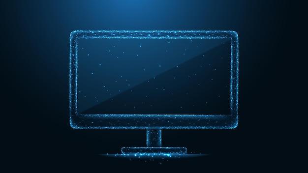 Anschluss der computermonitorleitung. low-poly-wireframe-design. abstrakter geometrischer hintergrund. vektor-illustration.
