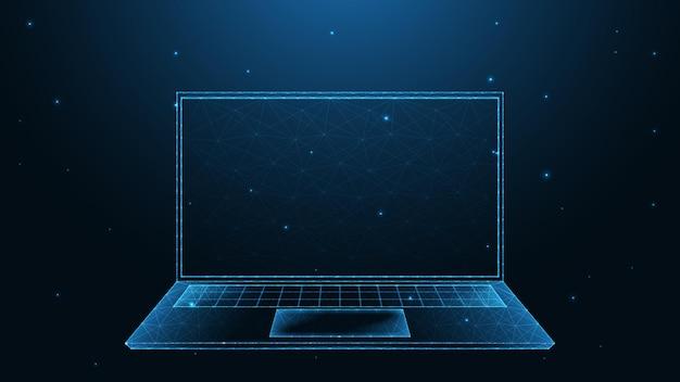 Anschluss der laptop-leitung. low-poly-wireframe-design. abstrakter geometrischer hintergrund. vektor-illustration.