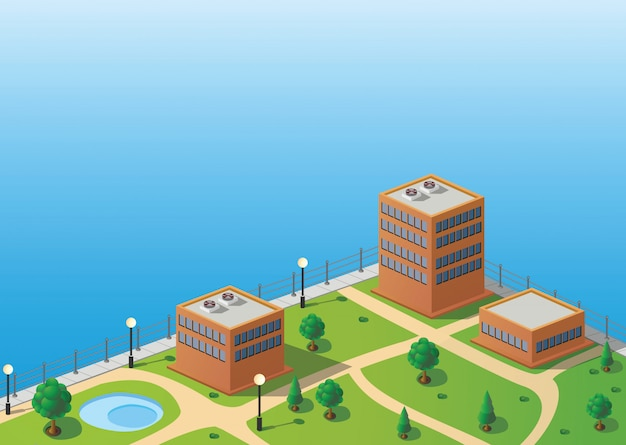 Ansicht der isometrischen stadt