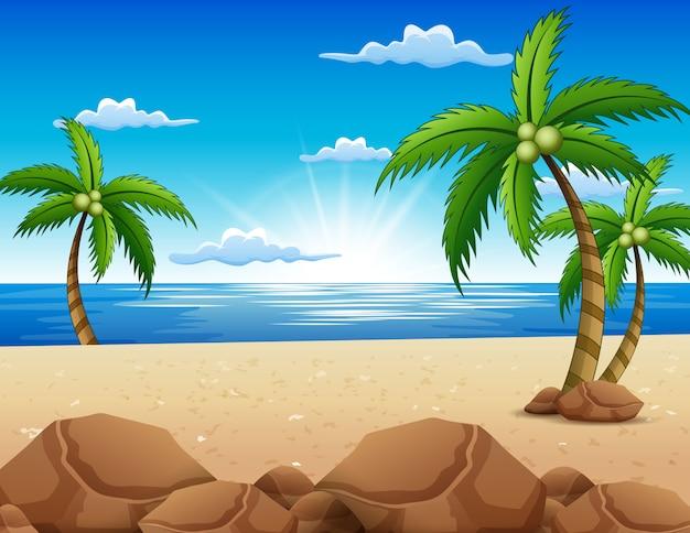Ansicht des schönen sonnenaufgangs im strand