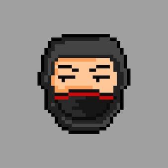 Anspruchsloses gesicht ninja mit pixel-art-stil
