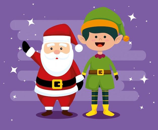 Anta claus und elf mit hut um weihnachten zu feiern