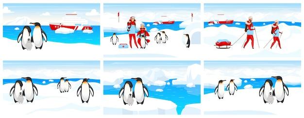 Antarktis expedition flach. kaiserpinguinkolonie auf eisberg. nordpollandschaft mit menschen und kreaturen. trekkinggruppe im schnee. tierarzt- und tierzeichentrickfiguren