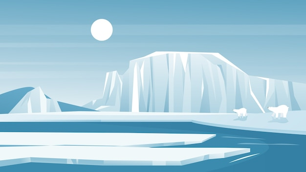 Antarktische landschaft frost naturlandschaft mit eisberg schnee berg