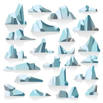 Antarktische oder polare eisberge unter kalten ozeanen, versunkene eisige gipfel mit schatten und reflexion. schmelzende massen von show, ökologische veränderungen und globale erwärmungsgefahr, vektor im flachen stil