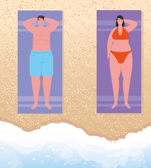Antenne anzeigen, paar am strand, mann und frau beim sonnenbaden am strand, sommerferienzeit