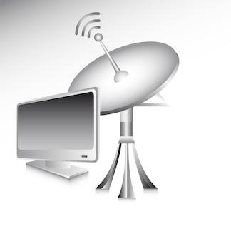 Antenne mit computer über grauer hintergrundvektorillustration