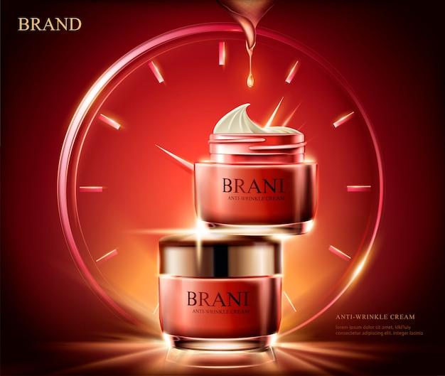 Anti-falten-creme-anzeigen, kosmetisches rotes cremeglas mit lichteffekt zusammengesetzt von uhr in illustration, roter hintergrund