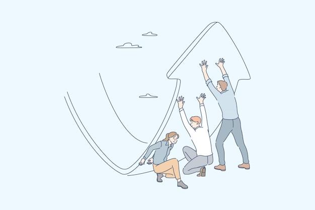Anti-krisen-strategie, investment management, gewinnsteigerung, geschäftskonzept