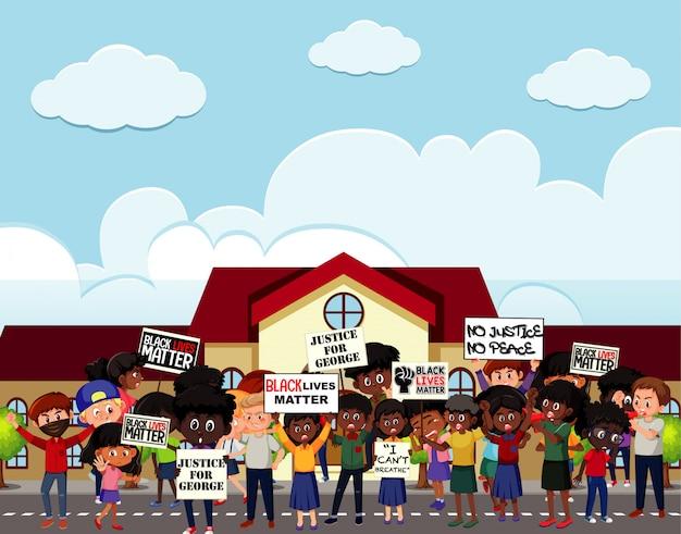 Anti-rassismus-demonstranten auf der straße