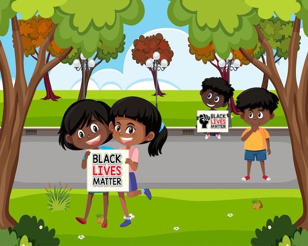 Anti-rassismus-demonstranten im park