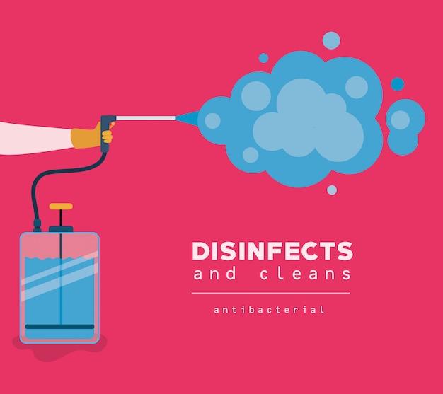 Antibakterielle sprühflasche mit rauchmuster