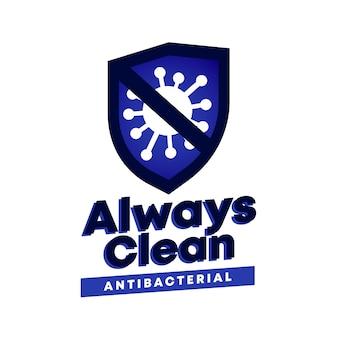 Antibakterielles logo mit slogan