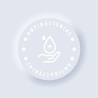 Antibakterielles seifensymbol oder antiseptisches geletikett. vektor. symbol für hygieneprodukte. hand mit tropfen. wc-badegelreiniger antibakteriell. neumorphe ui-ux