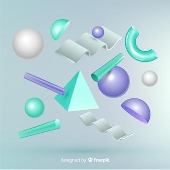 Antigravitationsgeometrische formen mit effekt 3d
