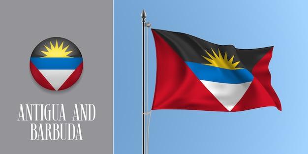 Antigua und barbuda, die flagge auf fahnenmast und runder symbolillustration winken