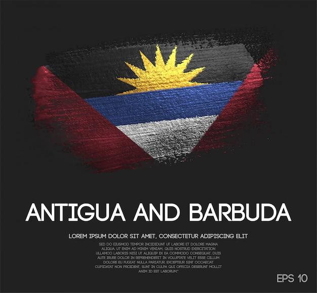 Antigua und barbuda flagge aus glitzer sparkle pinsel farbe