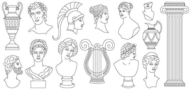 Antike antike griechische köpfe, skulpturen, architektur. griechische marmorstatuen, vasen, göttinnenbüste-vektorillustrationssatz. mythische antike griechische skulpturen. set kopf antikes griechenland, statue