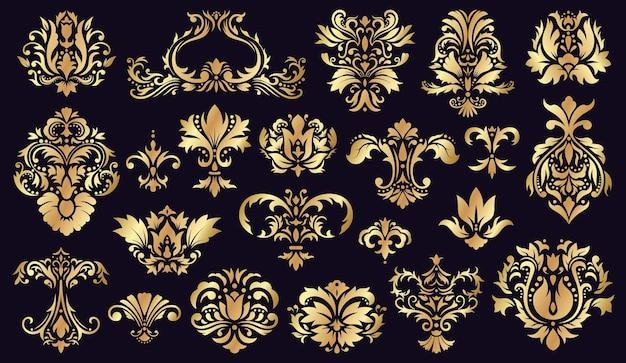 Antike damastverzierungen. goldene barocke rokoko dekorative blumenelemente isoliert satz