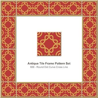 Antike fliesenrahmen muster gesetzt goldene runde punktkurve kreuzlinie, keramikdekoration.