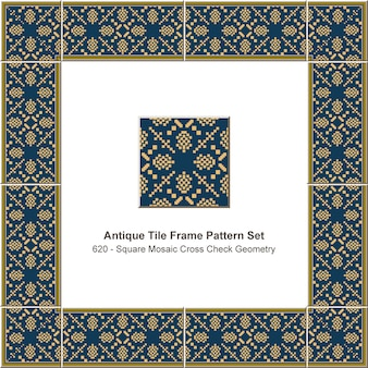 Antike fliesenrahmen muster set gelbes quadrat mosaik pixel cross check geometrie, keramikdekoration.