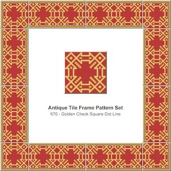 Antike fliesenrahmen muster set goldene karo quadratische punktlinie, keramikdekoration.