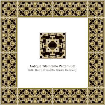 Antike fliesenrahmen muster set kurve kreuz stern quadrat geometrie, keramikdekoration.