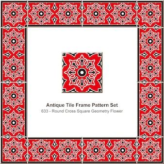 Antike fliesenrahmenmuster gesetzt runde kreuzquadratgeometrie blume, keramikdekoration.