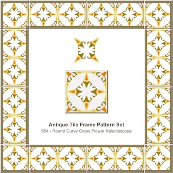 Antike fliesenrahmenmuster gesetzt runde kurve kreuzblumenkaleidoskop, keramikdekoration.