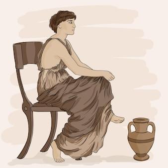 Antike griechische frau sitzt auf einem stuhl in der nähe eines kruges wein.
