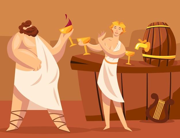 Antike griechische götter oder griechen, die zusammen wein trinken
